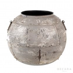 Metal grey pot with handles