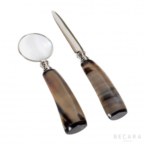 Set of bone handle magnifying glass and letter opener