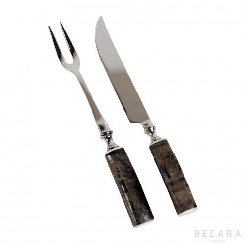 Set para trinchar con mango de hueso - BECARA