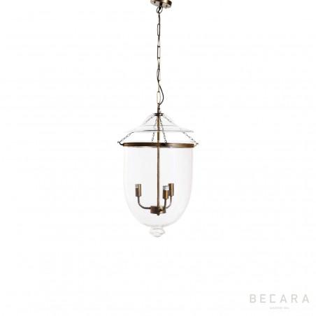 Lámpara de techo pequeña de cristal y bronce claro