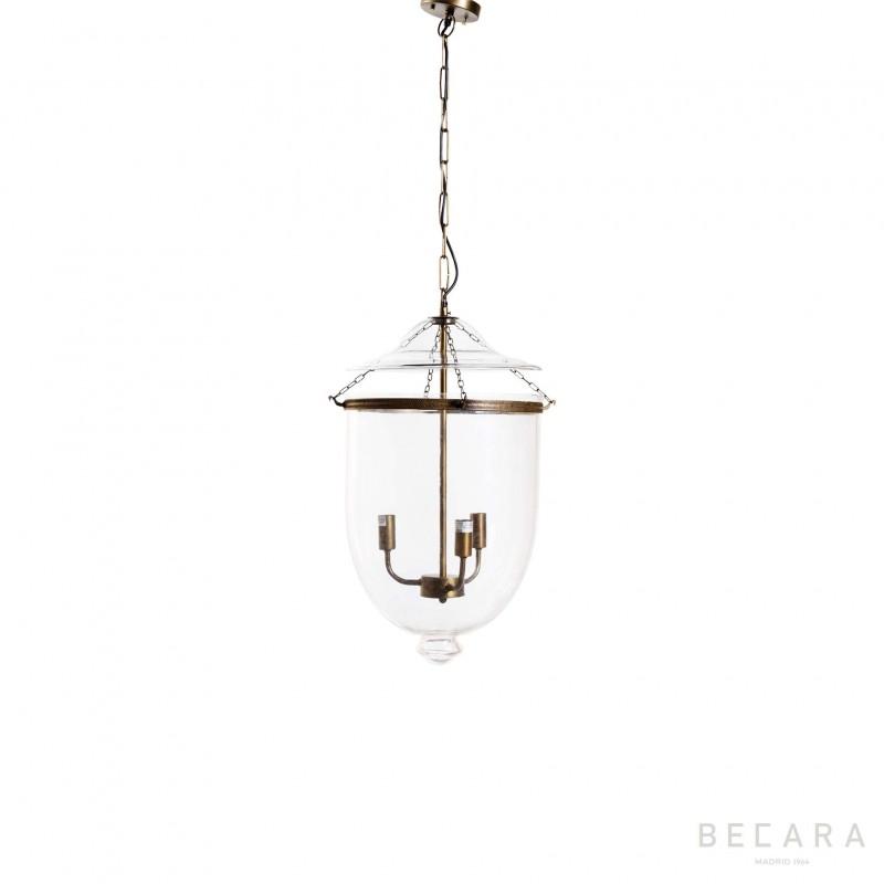Lámpara de techo pequeña de cristal y bronce claro - BECARA