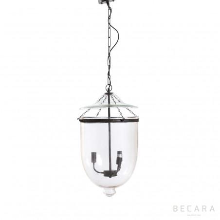 Lámpara de techo grande de cristal y bronce oscuro