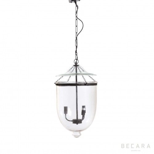 Big glass and dark bronze ceiling lamp