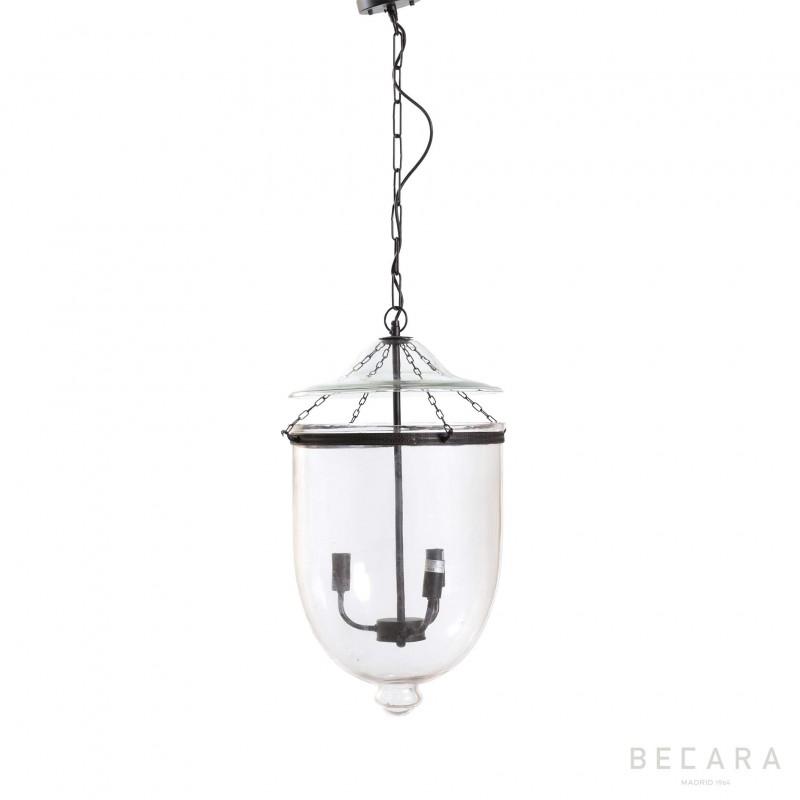 Lámpara de techo grande de cristal y bronce oscuro  - BECARA