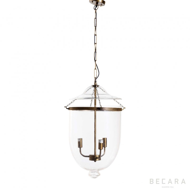 Big glass and light bronze ceiling lamp