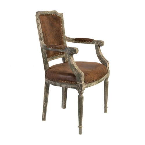 Leather and distressed wooden armchair