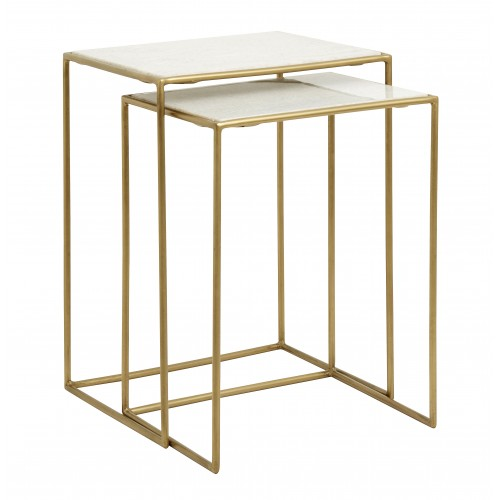 Set of 2 tables brass/white marble