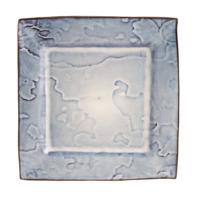 Plato llano cuadrado manchas azules - BECARA