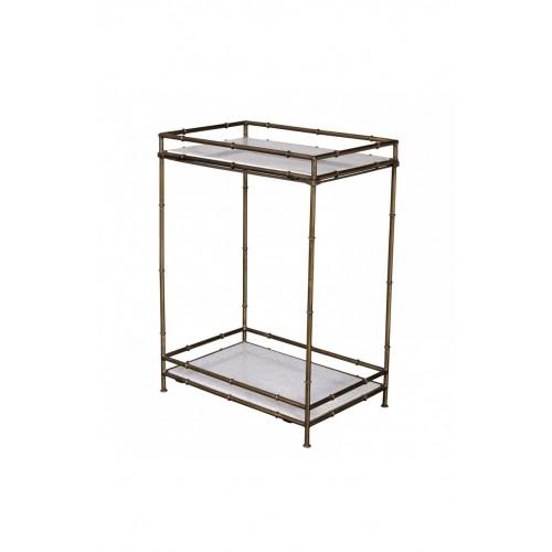 Consola de bambú metálico y mármol - BECARA