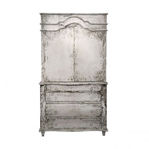 Grey cabinet with red interior