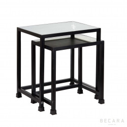 Set of 2 glass side tables