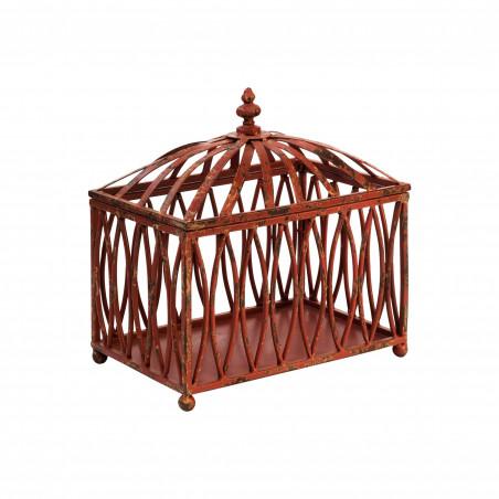 RED FRETWORK IRON SMALL BOX