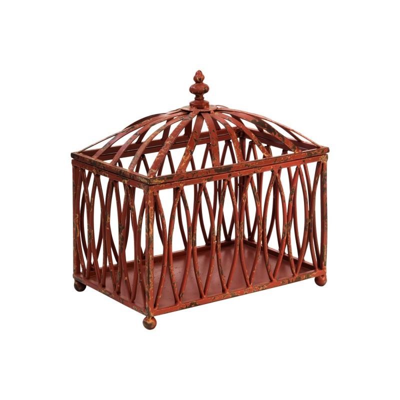 Red fretwork iron box