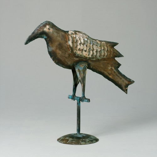 Turquoise distressed iron bird