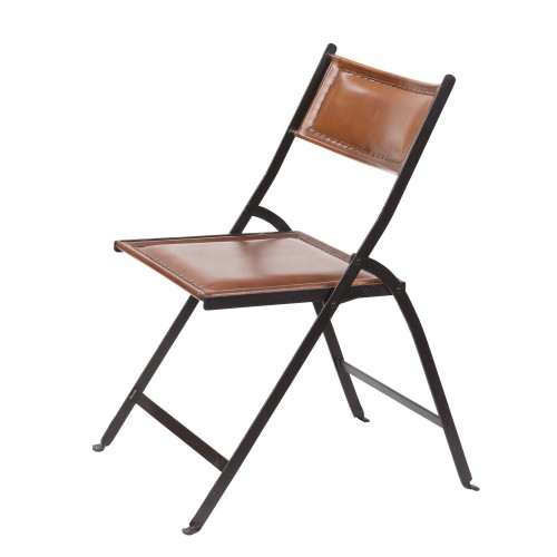 Iron and leather folding chair