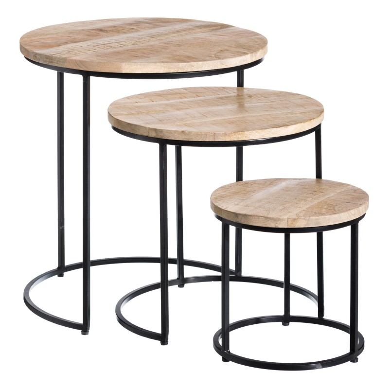 Natural Colorado set of 3 side tables