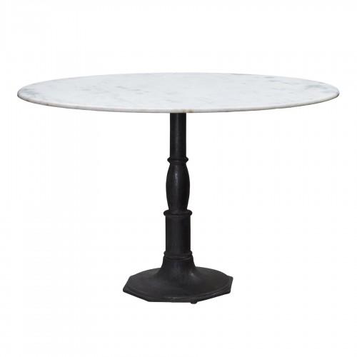 Mesa de comedor grande redonda con base octogonal y tapa de mármol