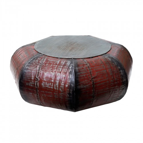 Red heptagonal flattened side table/puff