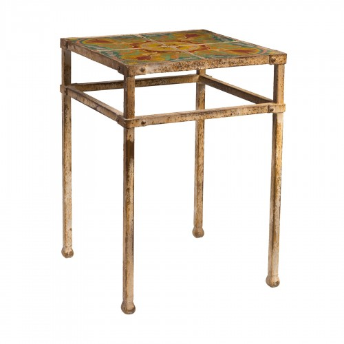 Wooden side table with colored patchs
