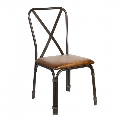 Iron chair with cross backrest