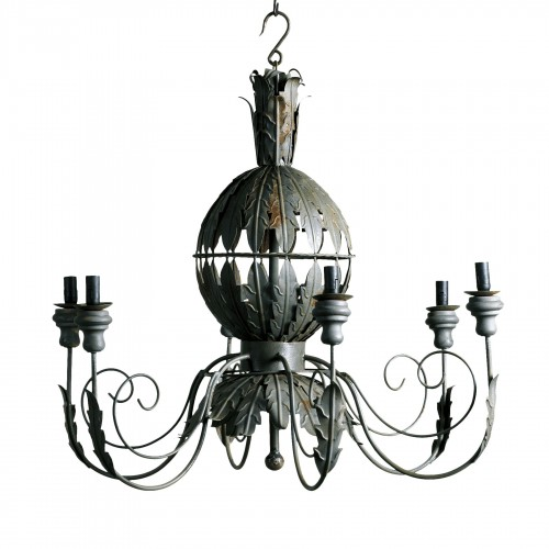 Grey metallic leaves chandelier