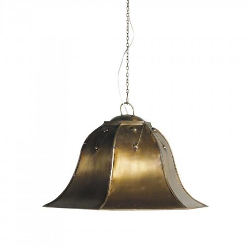 Lámpara de techo campana hexogonal dorada