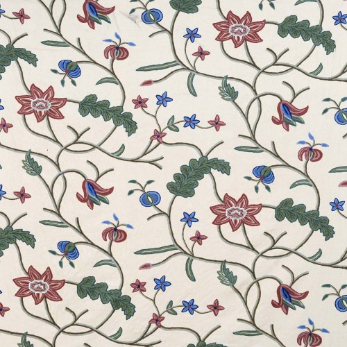 Tela bordada Raipur beige con flores - BECARA