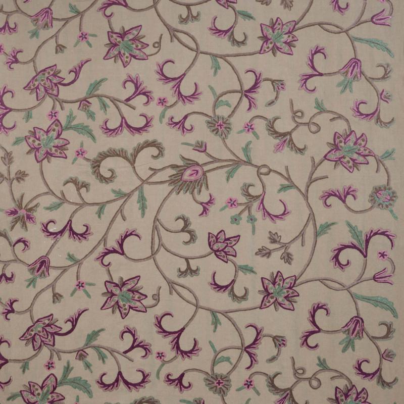 Tela bordada flores verde - BECARA