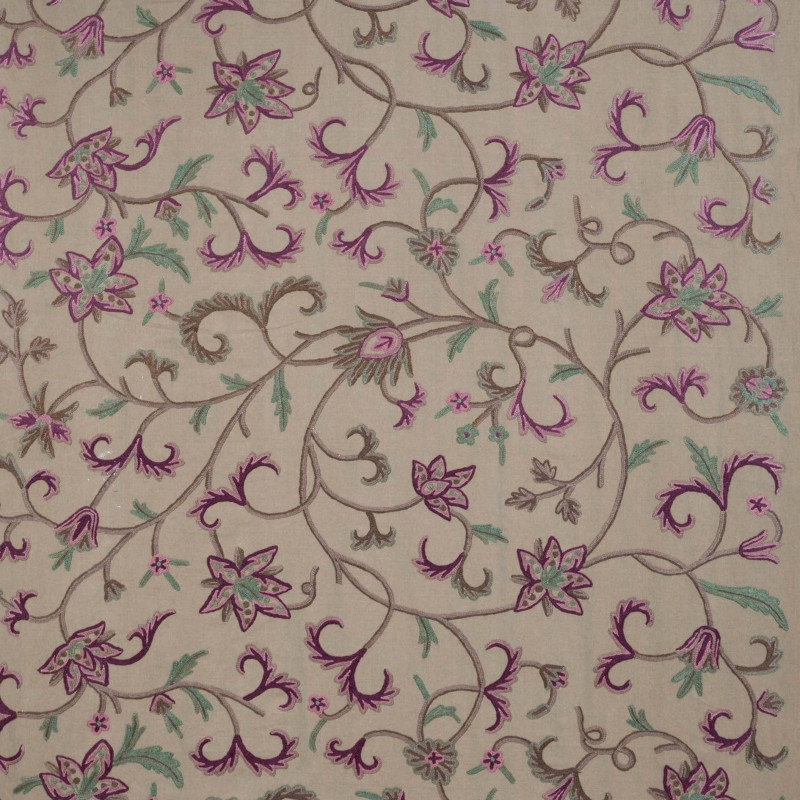 Green flower embroidered fabric