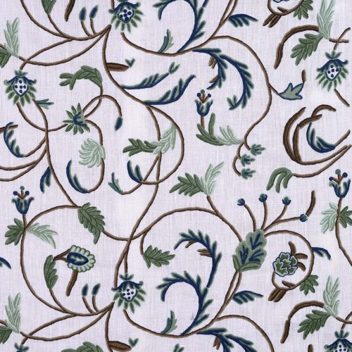 Crude embroidered fabric with green/blue flowers