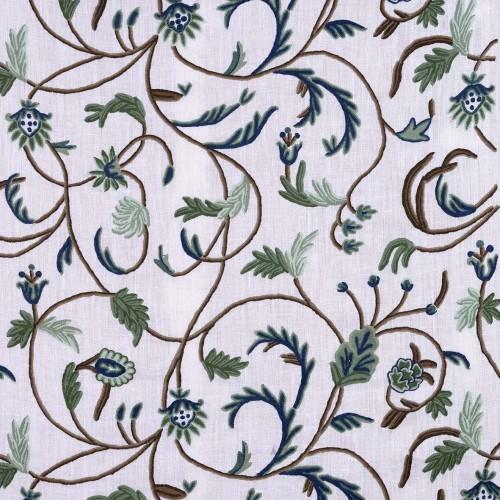 Tela bordada cruda flores verde/azul - BECARA