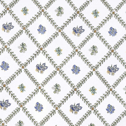 Indra white fabric with green/blue pattern