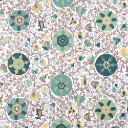 Kerala beige fabric with aqua green pattern
