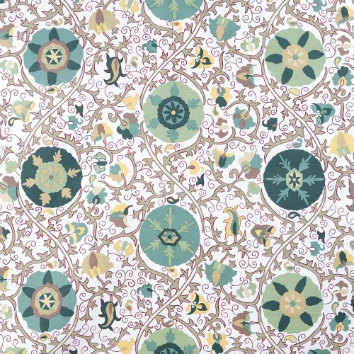 Kerala beige fabric with aqua green pattern