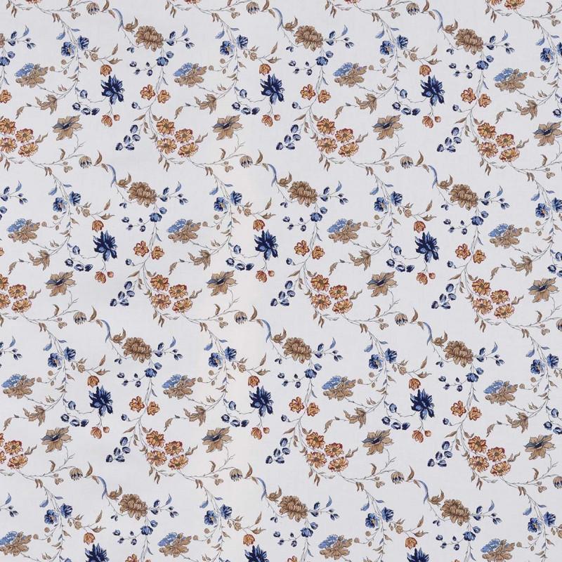 Tela crude Agathe de lino azul/marrón - BECARA