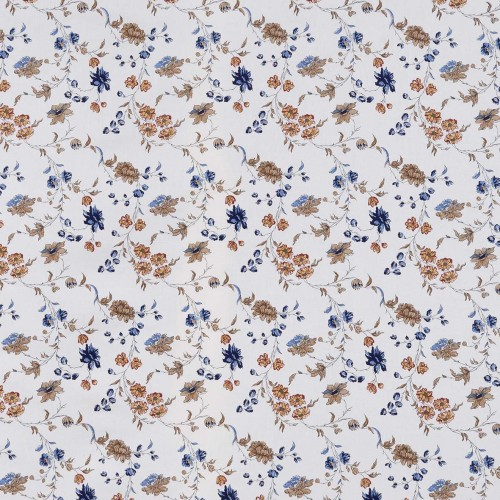 Agathe beige fabric with blue/brown pattern