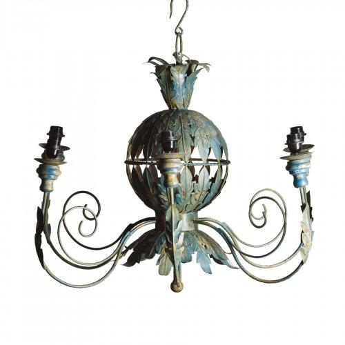 Lámpara de techo turquesa con hojas metálicas