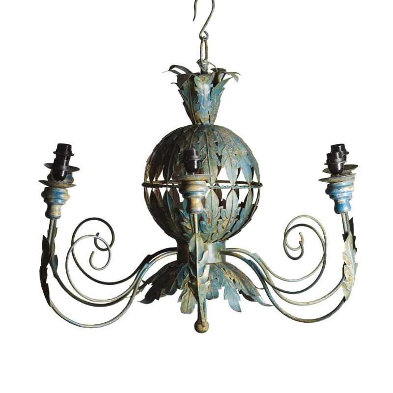 Turquoise metallic leaves chandelier