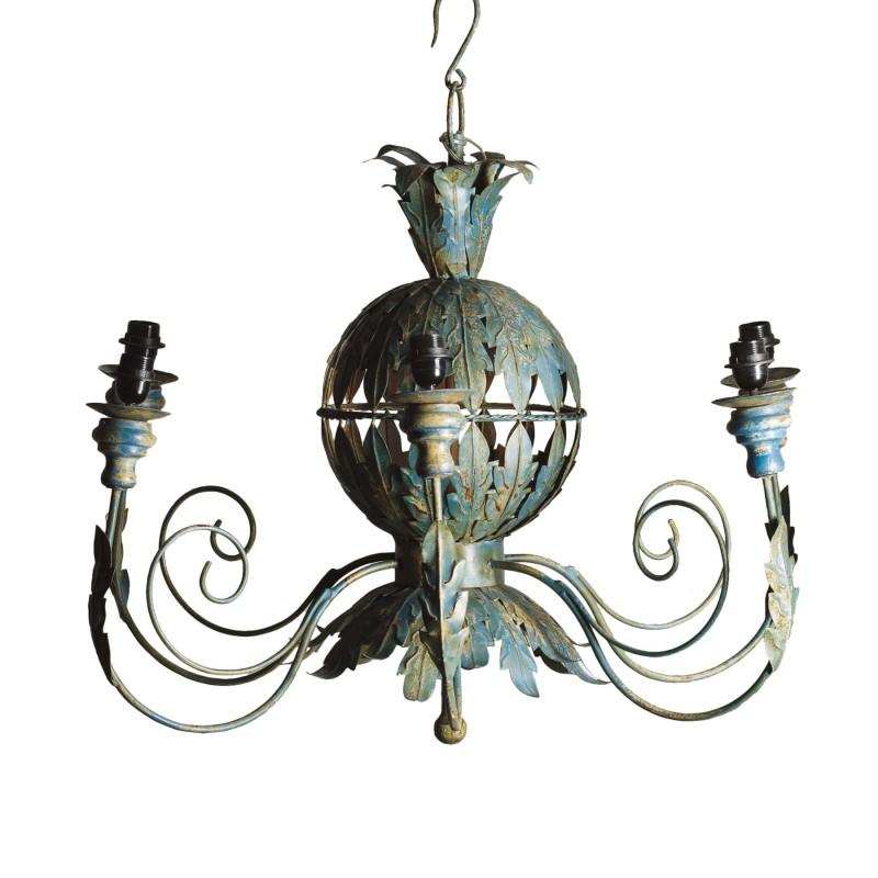 Lámpara de techo turquesa con hojas metálicas  - BECARA