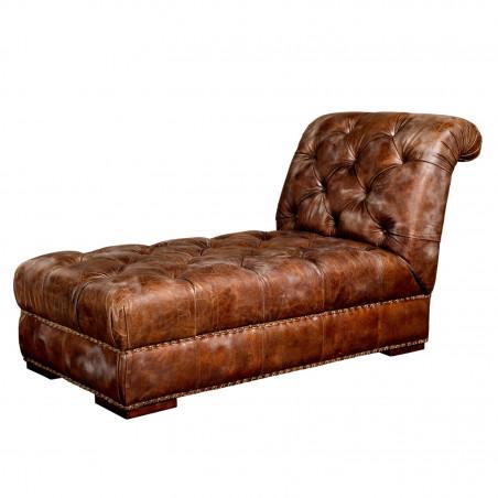 Chaise longue Chester cuero marrón botones
