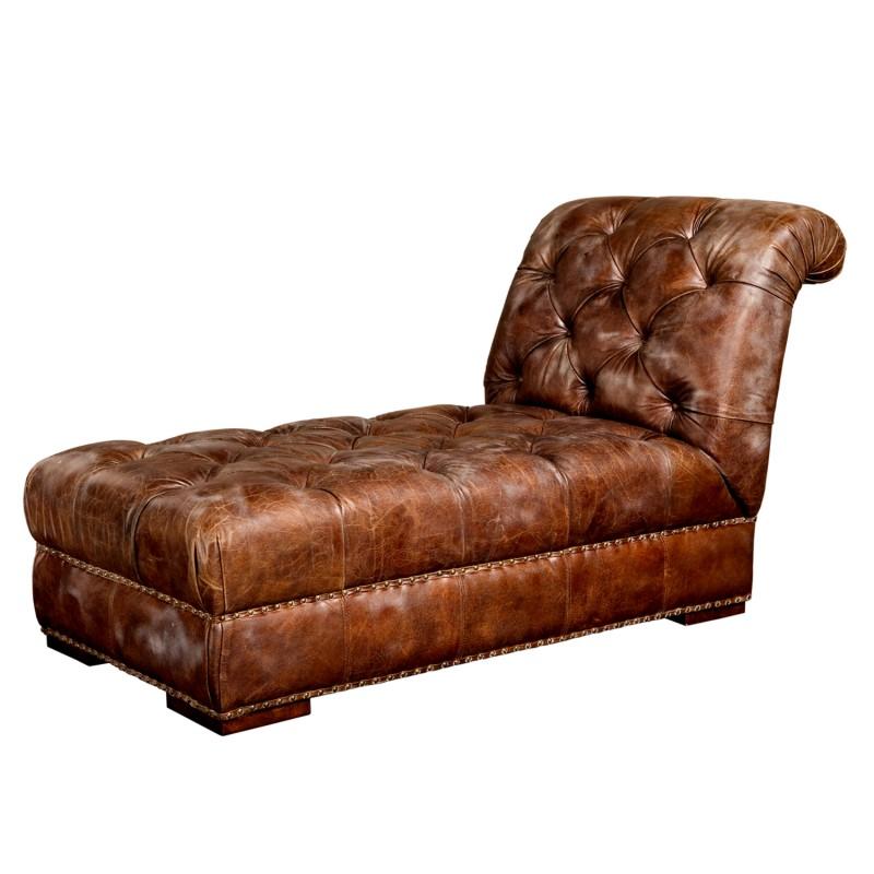 Chaise longue Chester cuero marrón botones - BECARA
