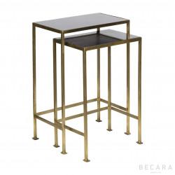 Set de 2 mesas auxiliares tapa granito