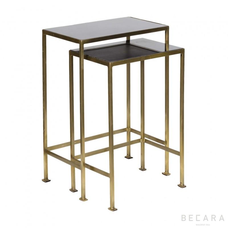 Set de 2 mesas auxiliares tapa granito - BECARA