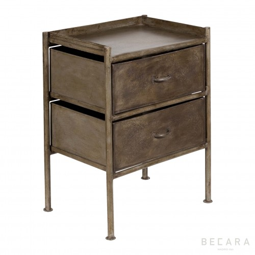 Grey metal bedside table
