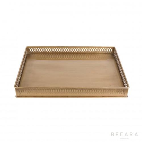 Bandeja de hierro bronceado cuadrada - BECARA