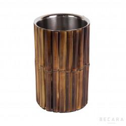 Enfriador de botellas de bambú tostado