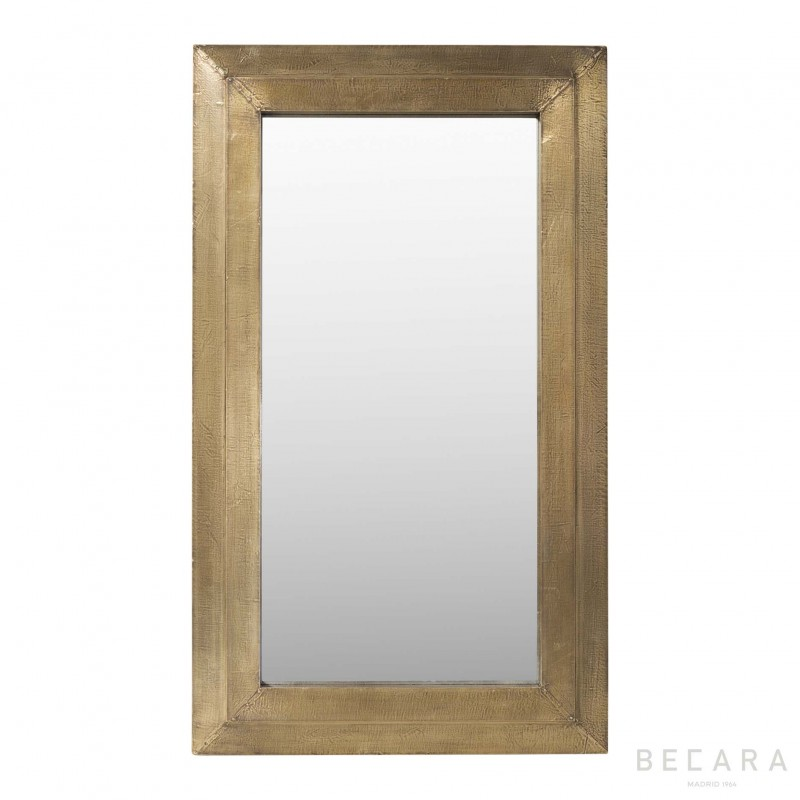 Wood finished brass mirror