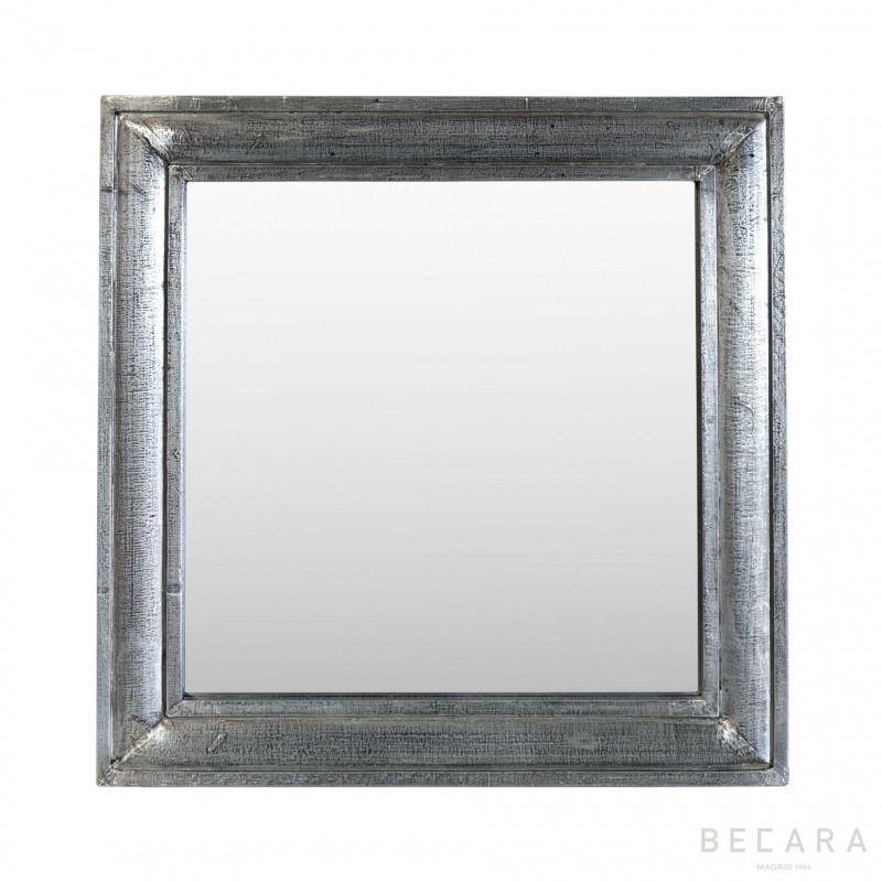 Espejo de madera plateado cuadrado - BECARA