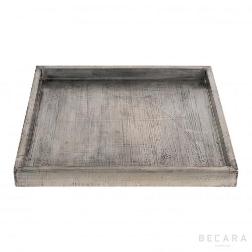Bandeja de madera plateada cuadrada grande - BECARA
