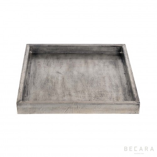 Medium square wood finished silver tray